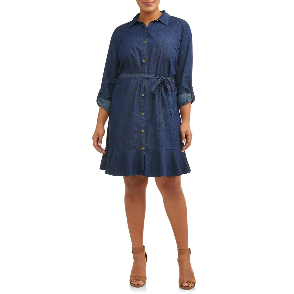 Millennium Roll Cuff Chambray Shirt Dress With Ruffle Skirt | Best ...