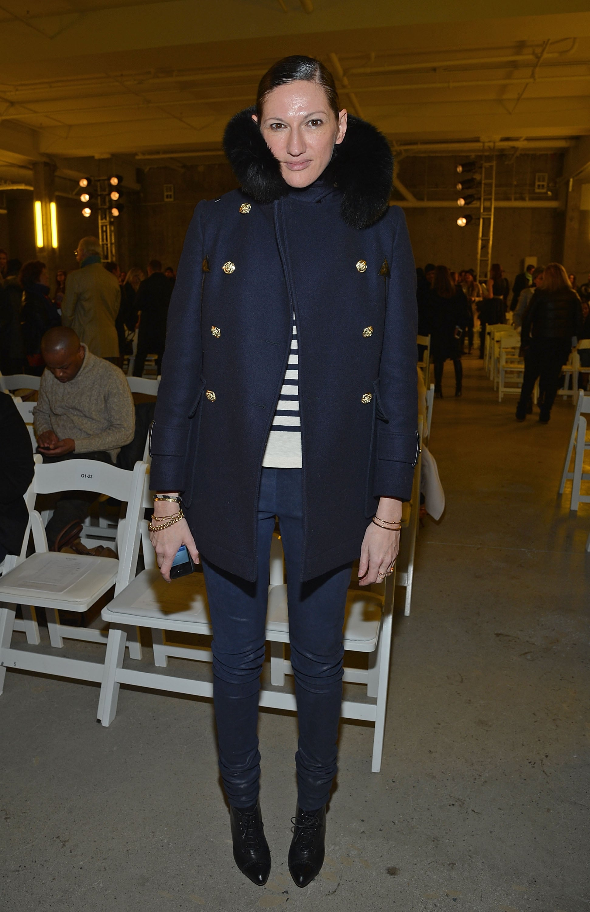 Straight-up preppy works, too, like this navy coat (and striped tee!).