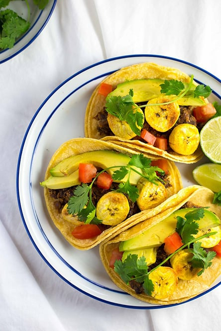Black Bean and Baked Plantain Tacos