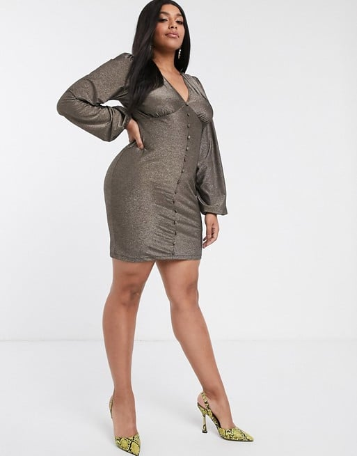 ASOS DESIGN Curve long sleeve plunge mini dress with buttons in glitter