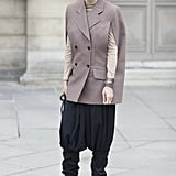 A menswear take that got a shot of street cool with harem pants and platform boots.