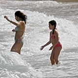 Teri Hatcher and her daughter, Emerson, splashed in the waves in January 2007.