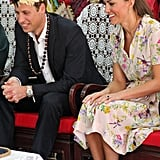 Kate Middleton and Prince William wore floral headpieces for a farewell ceremony in Tuvalu.