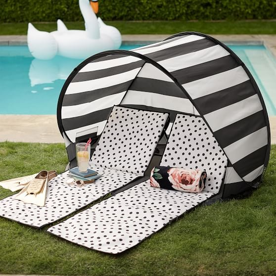 PB Teen The Emily u0026 Meritt Sun Shade Tent Black/White Stripe & PB Teen The Emily u0026 Meritt Sun Shade Tent Black/White Stripe ...
