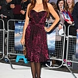 The brunette beauty showed off her wild side in a plush leopard-print swing dress and Mary Jane platforms at the London premiere of Happy Feet Two in November 2011.