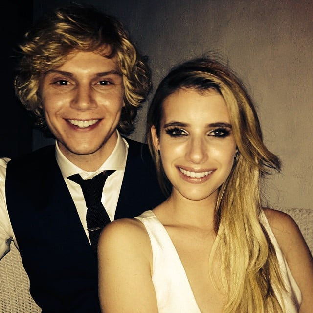 American Horror Story stars Evan Peters and Emma Roberts posed together at the show's premiere party in LA. Source: Instagram user emmaroberts6
