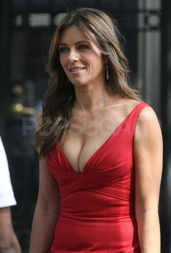 Elizabeth Hurley shows cleavage while filming Gossip Girl.