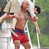 He Began Filming For Baywatch and Blessed Us With Several Shirtless Moments Like This One . . .