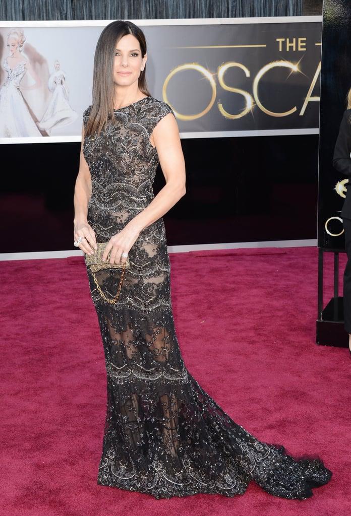 Sandra Bullock on the red carpet at the Oscars 2013.