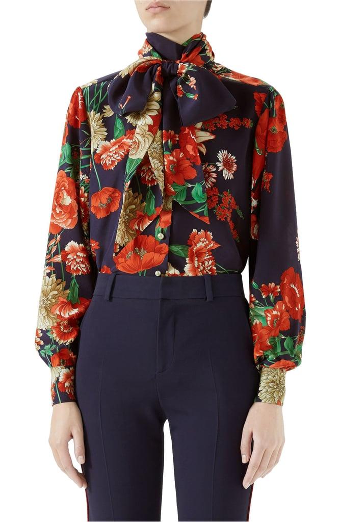0613db66c4ade1 Gucci Spring Bouquet Print Tie Neck Silk Blouse | Jennifer Lopez ...