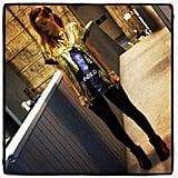 Rihanna wore a cool gold t-shirt. Source: Instagram user badgalriri