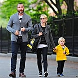 Naomi Watts and Liev Schreiber took Kai for a walk in NYC.