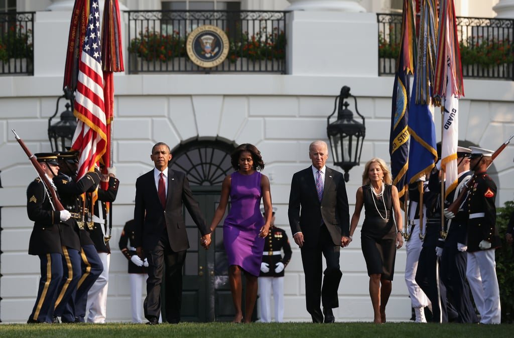 President Obama walked hand in hand with his wife, Michelle, alongside Vice President Joe Biden and his wife, Jill, during the White House commemoration of 9/11 in Washington DC.