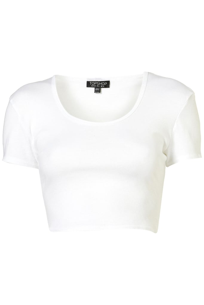 My favorite trend right now is the crop top. This basic white crop t-shirt ($16), can be paired with anything – high waisted shorts, colored skirts, or patterned pants. 