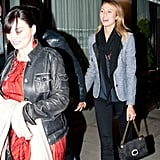 Stacey Keibler wore a black scarf and blazer for a night out with George Clooney in NYC.