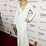 How hot does Ali Larter look? The actress was seriously smokin' in a  long-sleeved white Valentino gown with a plunging neckline at the Art of Elysium Heaven Gala.