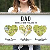 Personalized Long-Distance Family Wood Heart Map