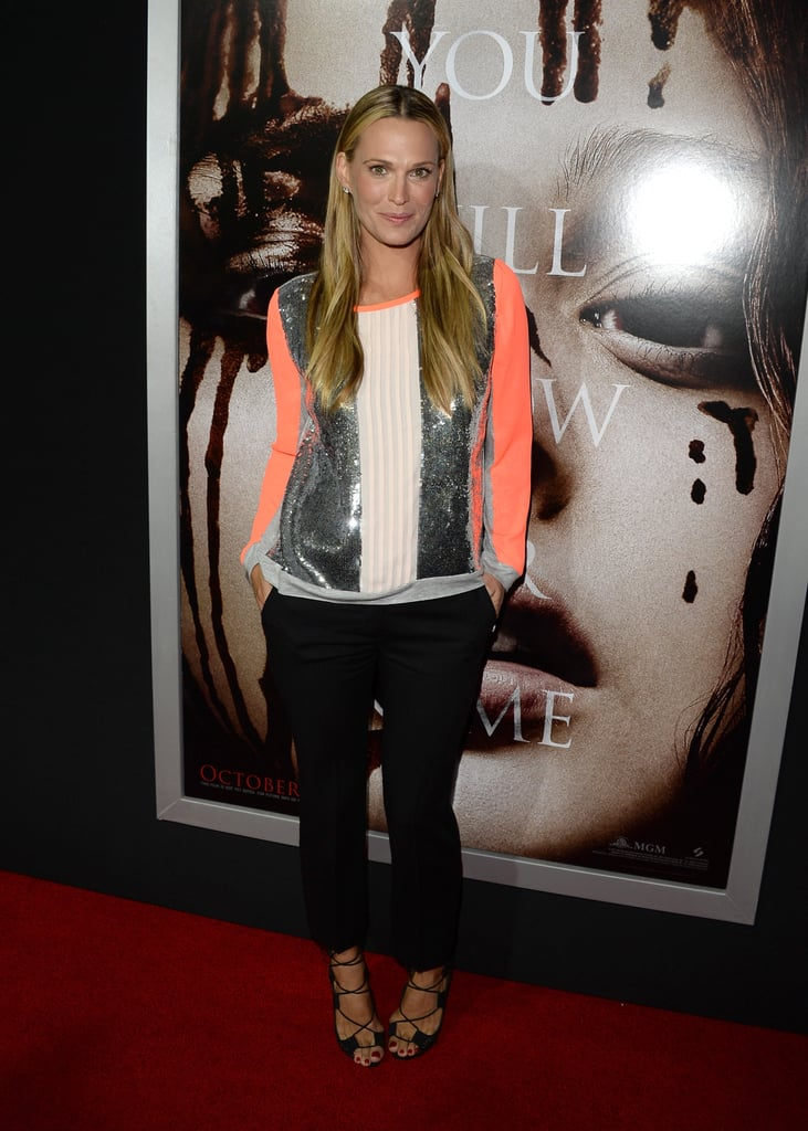 Molly Sims sparkled in a silver top while screening Carrie in New York.