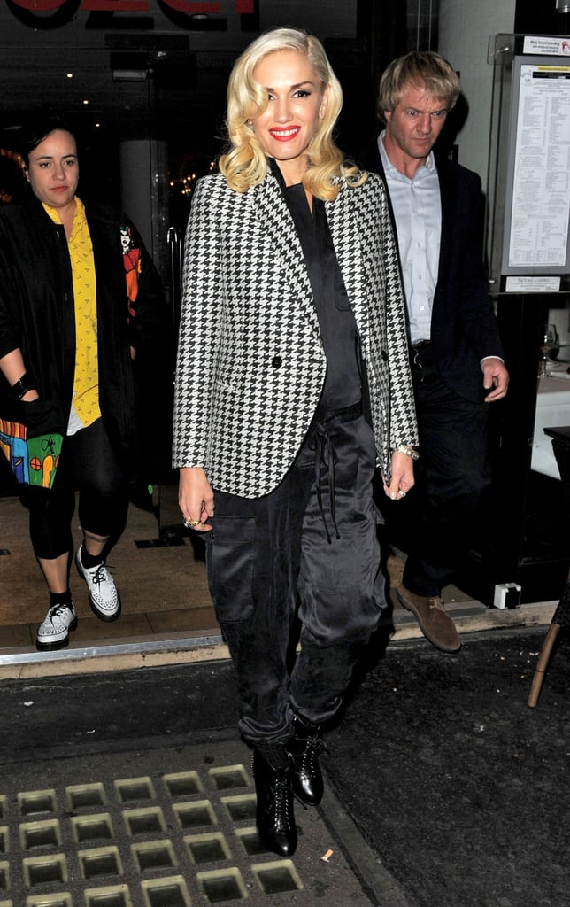 Gwen Stefani wore a checkered blazer in London.