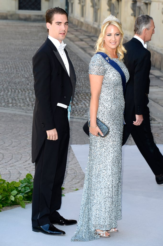 Prince Philippos and Princess Theodora of Greece arrived at the wedding of Princess Madeleine of Sweden and Christopher O'Neill.