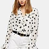 Topshop Ivory Oversized Spot Shirt