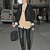 Ashlee Simpson's take is totally wearable in suede and leather.