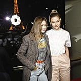 Gigi Hadid and Karlie Kloss at the Evian x Virgil Abloh Launch