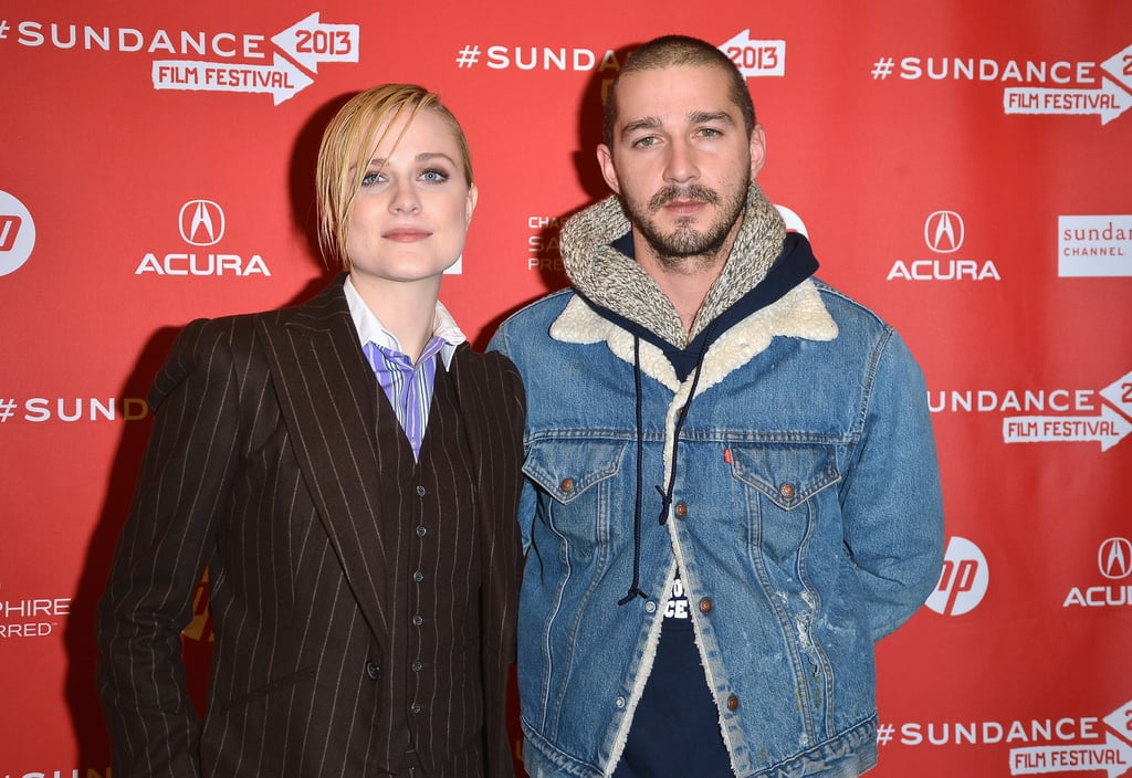 Shia LaBeouf posed with Evan Rachel Wood at the premiere of their new film at Sundance on Monday.