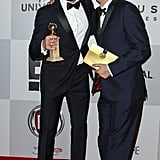 Hugh Jackman posed with Tom Hooper at NBC's Golden Globes after party.