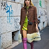 Fuzzy flannel looks even more lavish with the addition of added texture. A furry hemline, for example, does the trick.