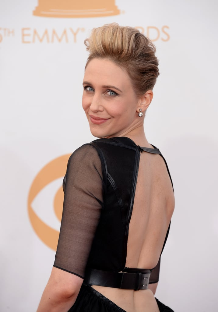 Vera Farmiga wore a James Dean-esque pompadour that drew eyes up and away from her . . . dramatic gown.