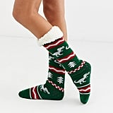 ASOS Design Christmas Dinosaur Fairisle Slipper Socks