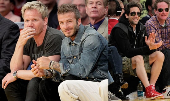 Photos of David Beckham, Gordon Ramsay and Adrien Brody At a Lakers Game in LA