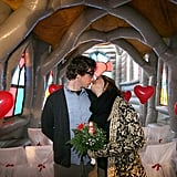 Pia Walter and Maxence Lepesant kiss in an inflatable church during their wedding rehearsal in Berlin.