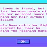 """Some important backstory: the character you play as is Aeva, a jet-setter who """"loves to travel"""" but doesn't enjoy her copassengers reaching out to touch her hair. Our job is to get Aeva to her flight with as minimal interference as possible."""