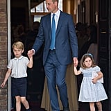 Prince William with George and Charlotte at Prince Louis's Christening.