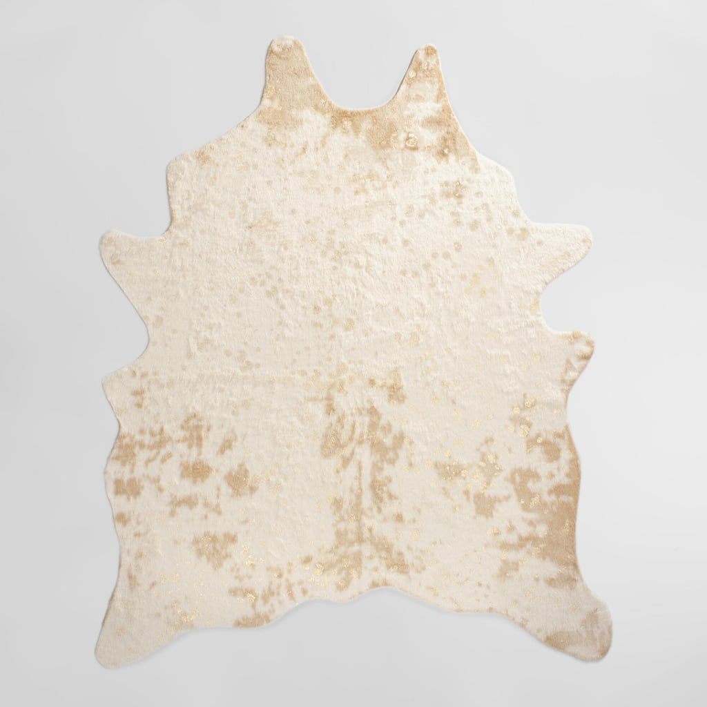 Gold Printed Faux Cowhide 5x7 Area Rug ($150)