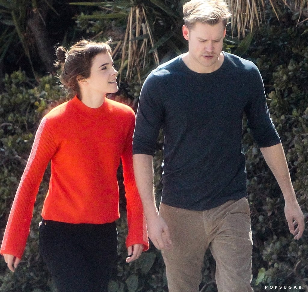 Emma Watson in Red Sweater With Chord Overstreet