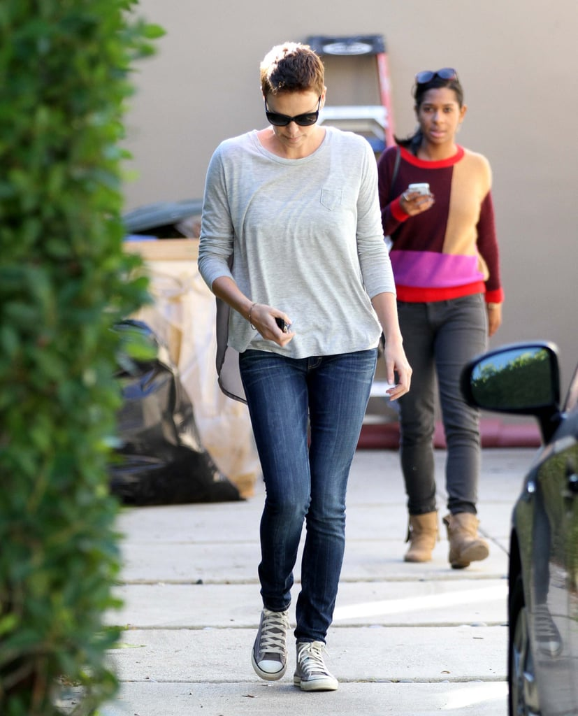 Charlize Theron helped a friend move in West Hollywood.