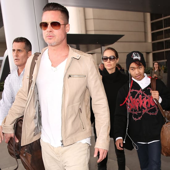Angelina Jolie, Brad Pitt, and Maddox at LAX