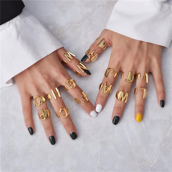 18-Karat Initial Gold Alphabet Ring
