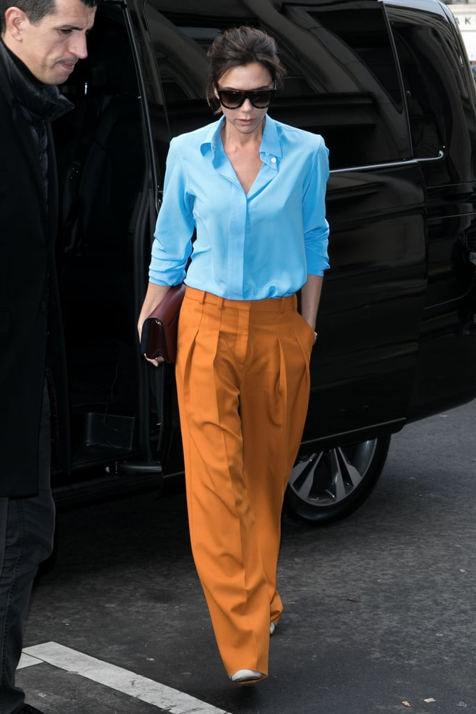 Victoria Beckham Orange and Blue Outfit Jan. 2017