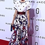 Kendall Jenner walked the playful catwalk-cum-red carpet at Marc Jacobs in a boldly patterned sequin maxi.