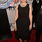 Maura Tierney dressed up her black cocktail dress with a jeweled bib necklace, coordinating cuff, and jewel-adorned pumps.