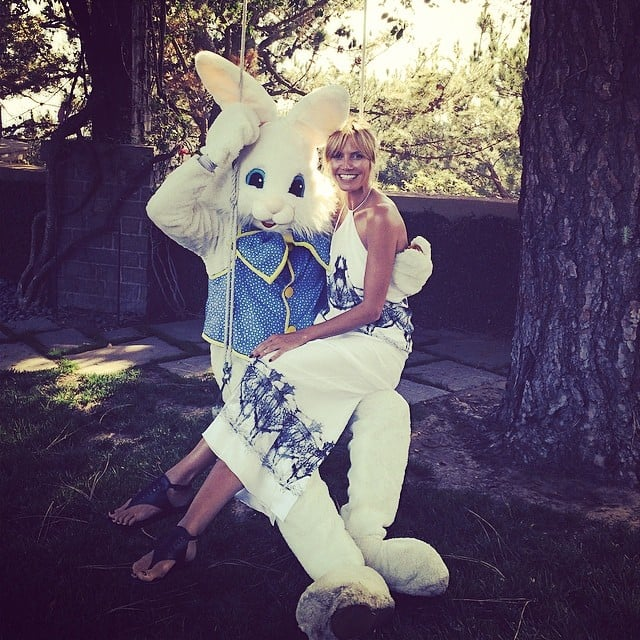 Heidi Klum swung around with the Easter bunny. Source: Instagram user heidiklum