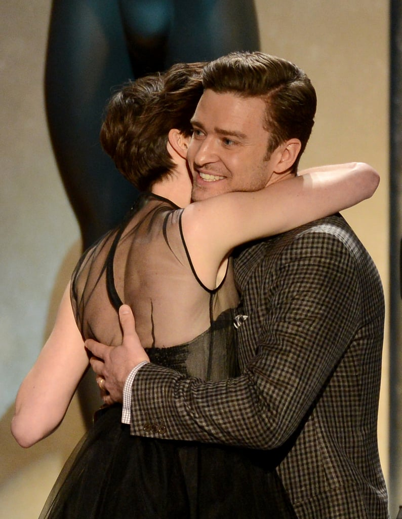 Anne Hathaway and Justin Timberlake shared a hug on stage.
