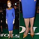 At the Stoker premiere in London, Nicole Kidman donned her gold-and-blue L'Wren Scott dress with metallic gold pointy pumps, also by Scott.