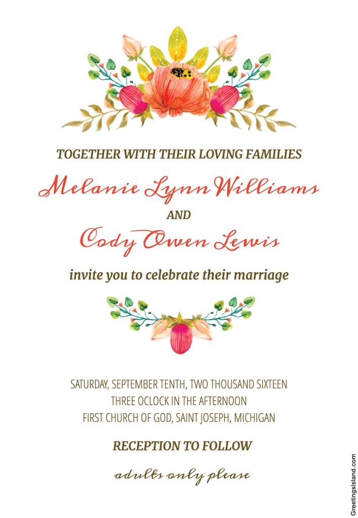 Flower Crown Wedding Invitation | Free Printable Wedding Invitations ...