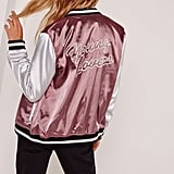 Missguided Graphic Satin Bomber Jacket Purple ($60)