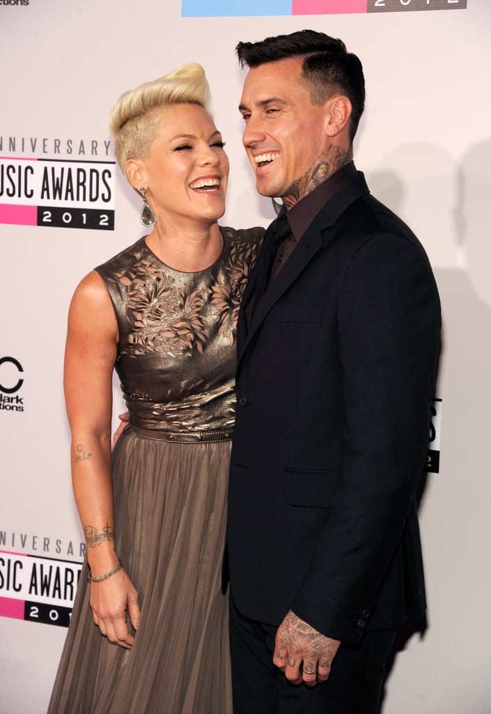 Pink and Carey Hart laughed together at the American Music Awards.